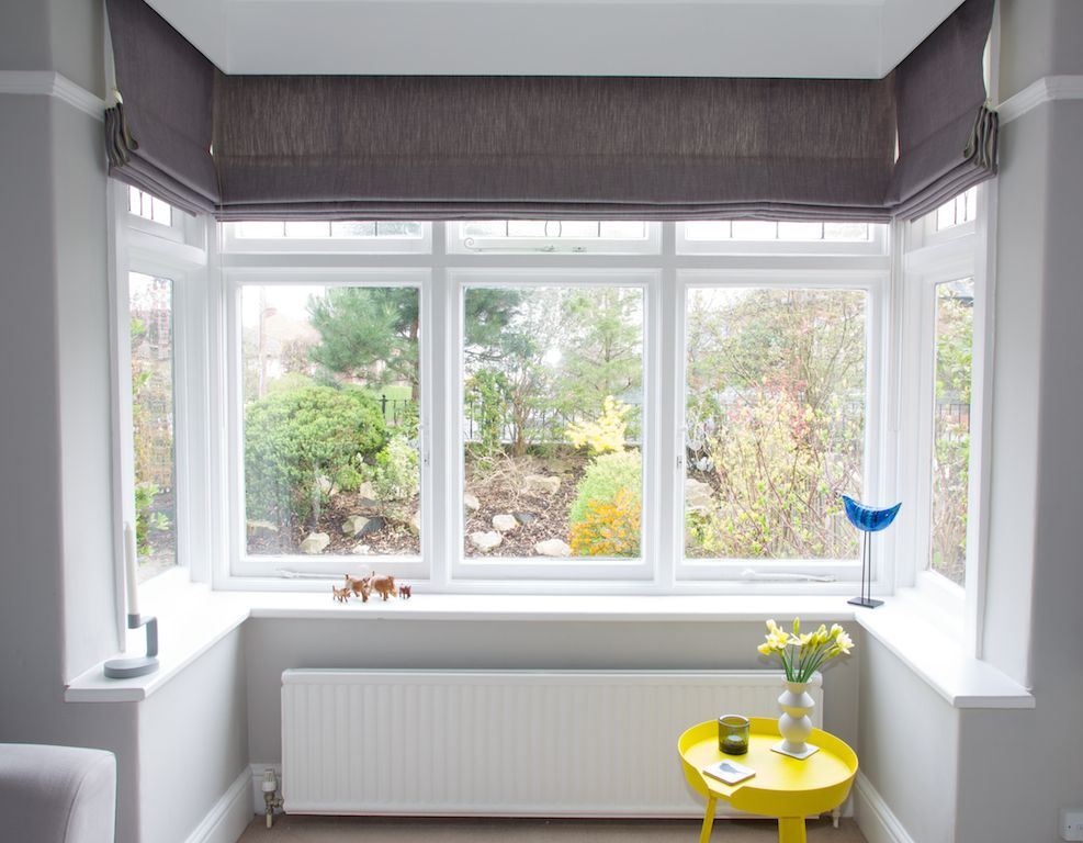 Roman blinds in bay window portfolio pinterest roman for Roman shades for bay windows