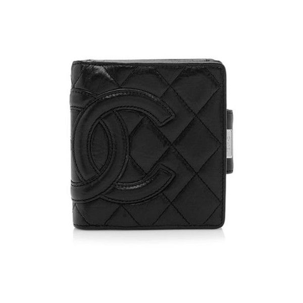 Pre-Owned Chanel Ligne Cambon French Wallet (2,460 ILS) ❤ liked on Polyvore featuring bags, wallets, black, black quilted wallet, chanel, 100 leather wallet, black leather bag и leather wallet