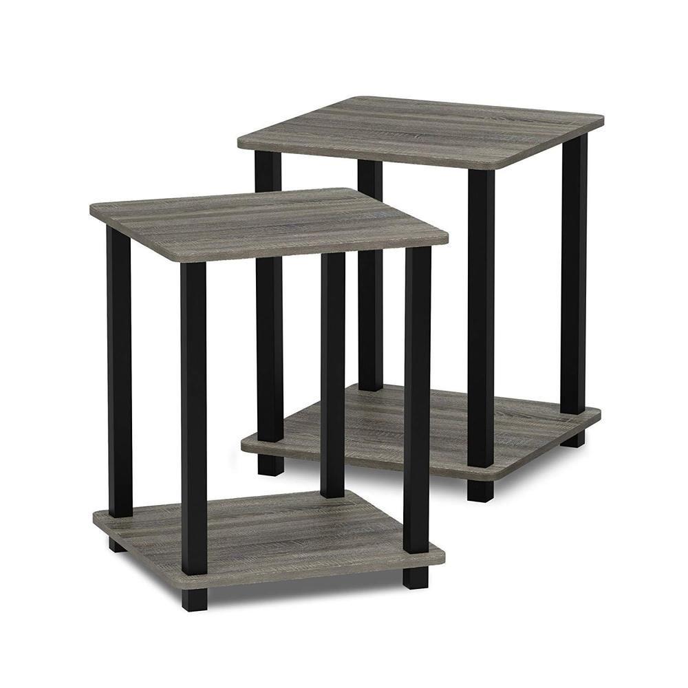 End Table Set Of 2 Wood Oak Grey Black Bedside Nightstand Living Room Furniture Furinno Coffee Table Living Room Coffee Table End Tables #oak #end #tables #for #living #room