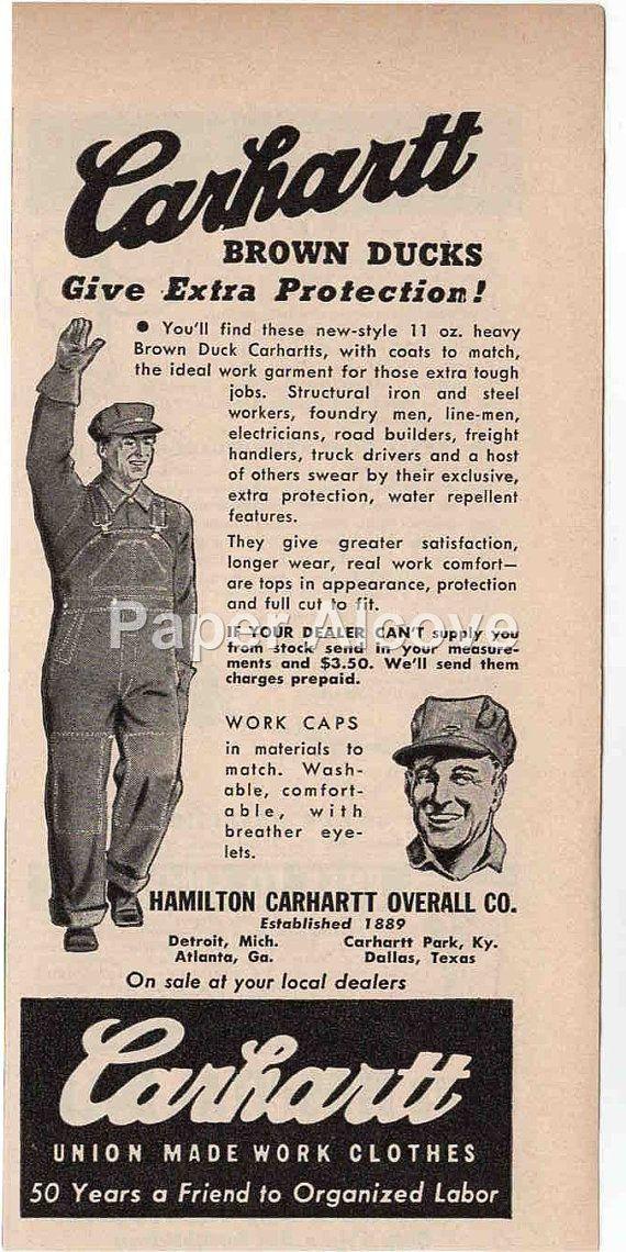 46bd60753 Carhartt Brown Ducks Overalls 1944 vintage original old magazine ad ...