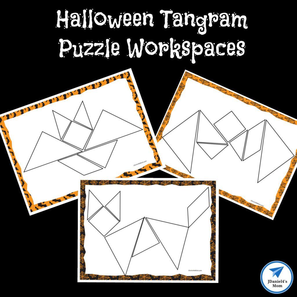 Free Printable Stem Halloween Tangram Puzzle Workspaces