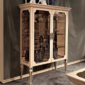 _Epoque Display Cabinet In Wood, Cameo Finish Cat.B, Legs With Inserts Of  Bronze Mirror Glass, Bronze Glass Sides And Shelves, Bronze Mirror Glass  Back ...