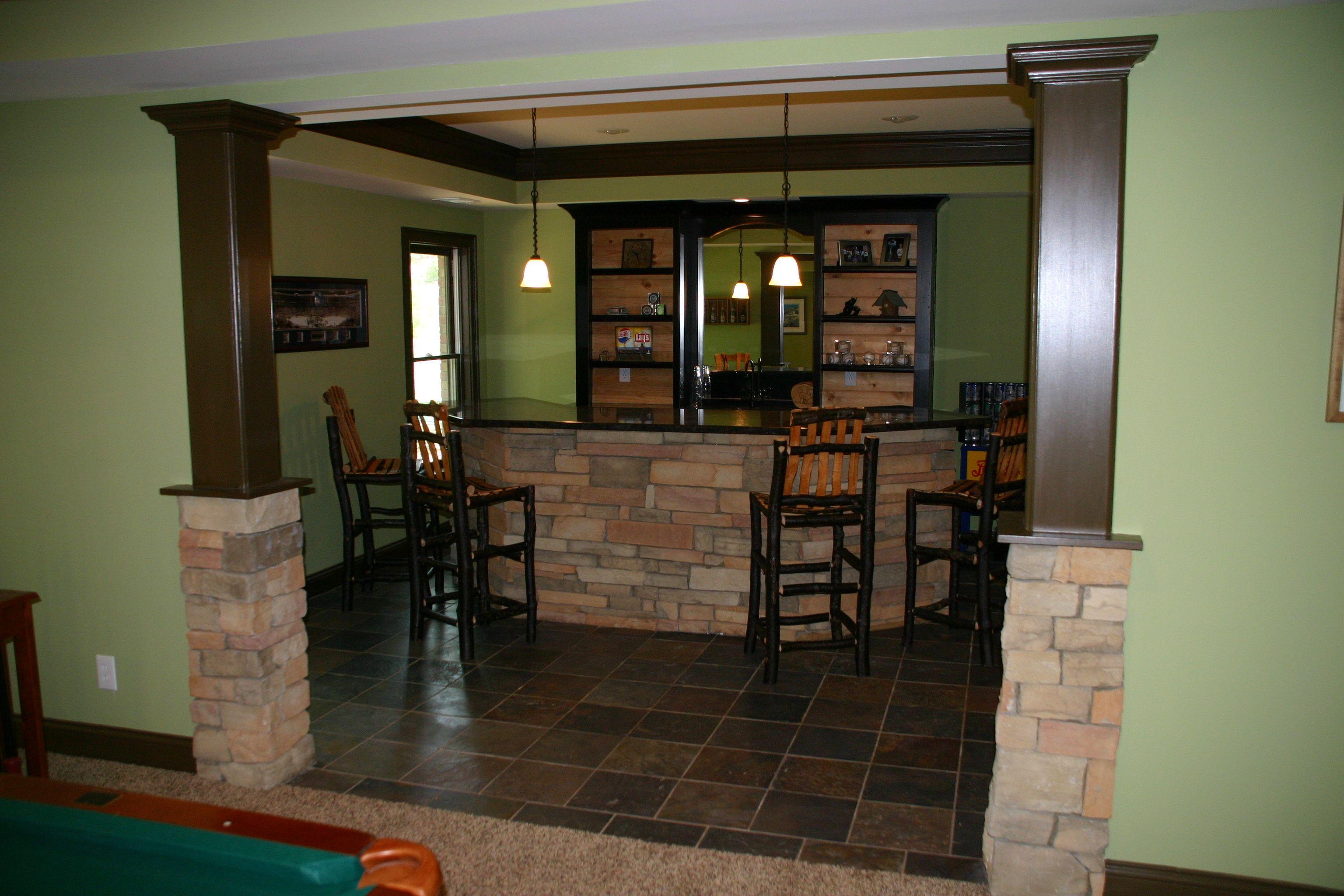 basement bar with stone basements Pinterest Basements