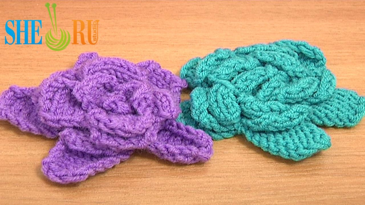Easy to Knit Rose Flower Tutorial 23 Knitted Flower Patterns http ...