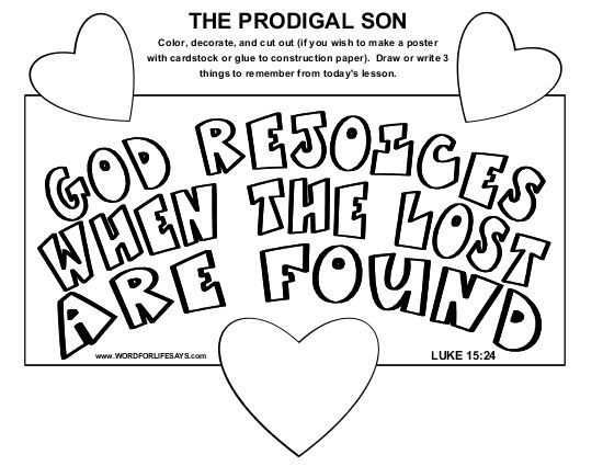 Parable Of The Lost Prodigal Son Coloring Page From My