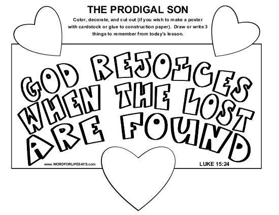 "The Prodigal Son"" Sunday School Lesson, Luke 15:11-24"