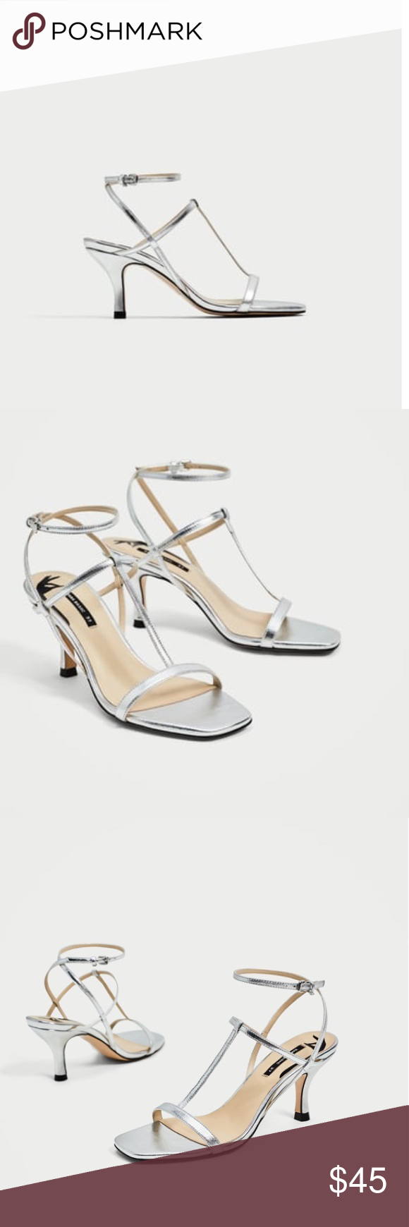 Zara Silver Leather T Strap Sandals Size 8 Zara Silver Leather T Strap Sandals Size 8 Brand New Without Box Size 8 Us Size 39 E T Strap Sandals Kitten Heel Sandals Silver Kitten Heels