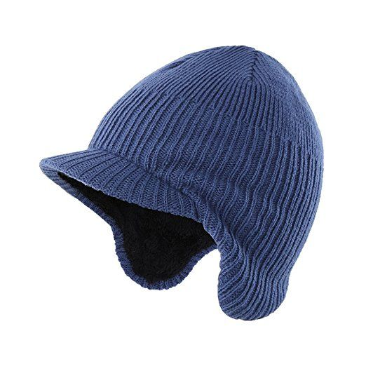 90076be09d6 Home Prefer Toddler Boys Winter Hat Fuzzy Knitted Kids Hat w. Visor Earflaps  Hat