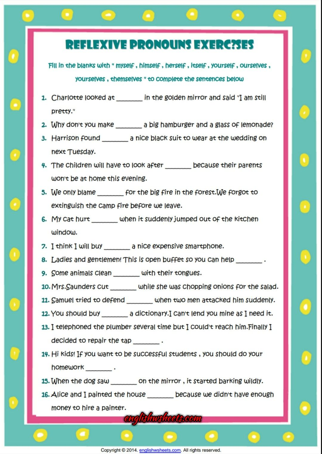 Reflexive Pronouns Esl Grammar Exercise Worksheet