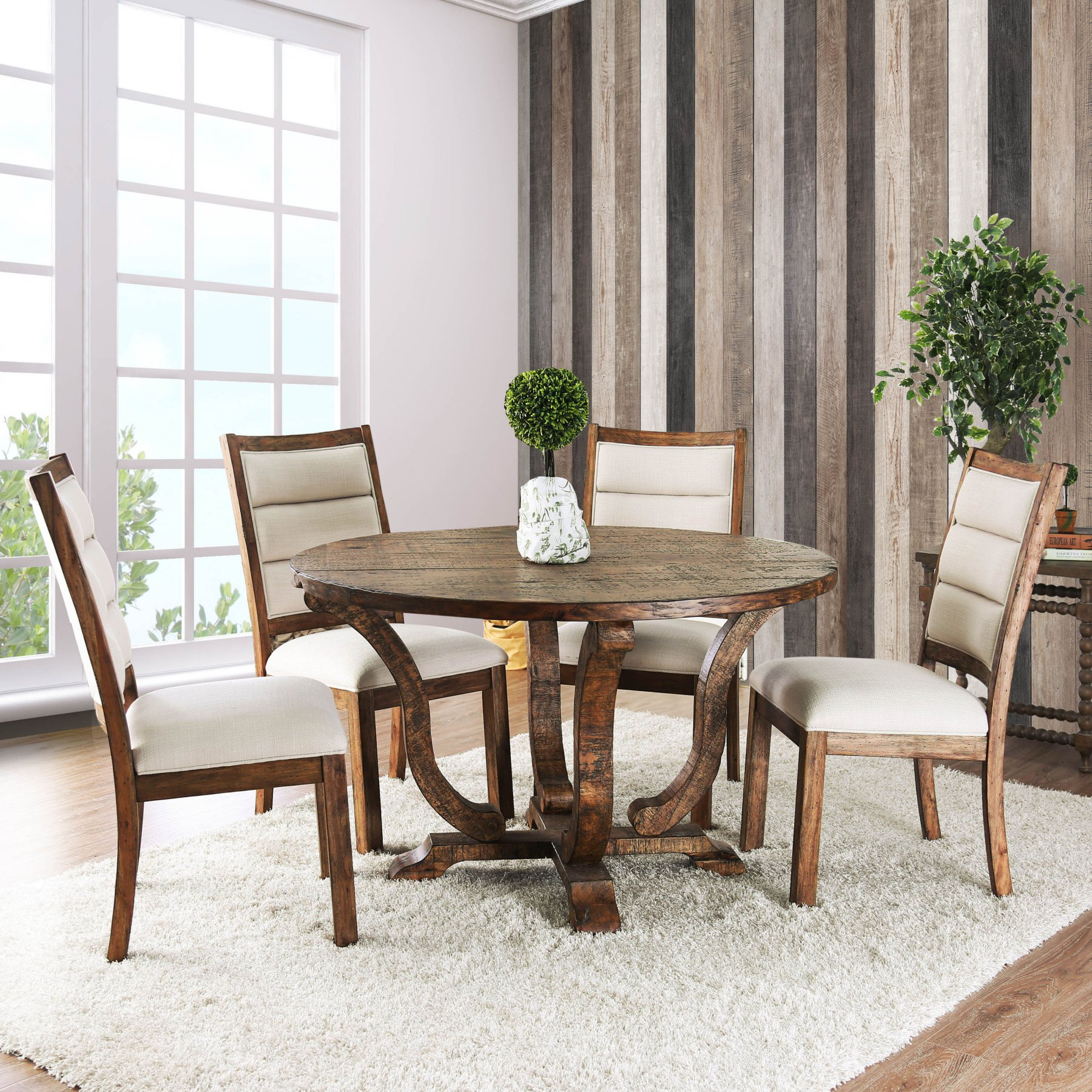 Furniture Of America Wenslow 5 Piece Rustic Round Dining Table