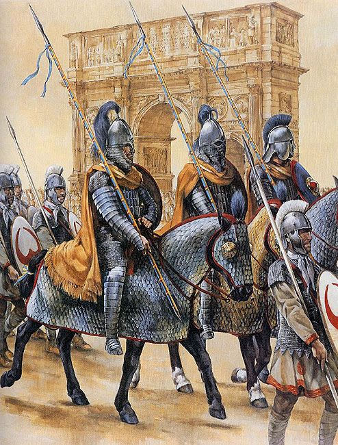 Clibanarii, later Roman extra heavy cavalry, 357 A.D. Art by Christa Hook