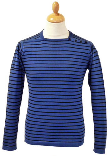 Mojo Retro 60s Stripe Jumper in Turkish Sea Blue from Madcap England