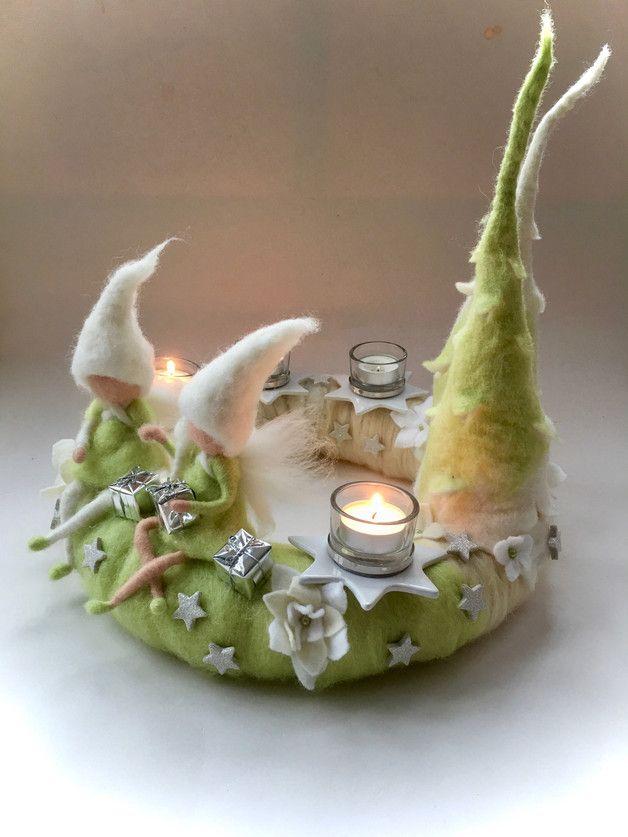 adventskranz mit 4 stern kerzenhalter aus keramik mit glas. Black Bedroom Furniture Sets. Home Design Ideas
