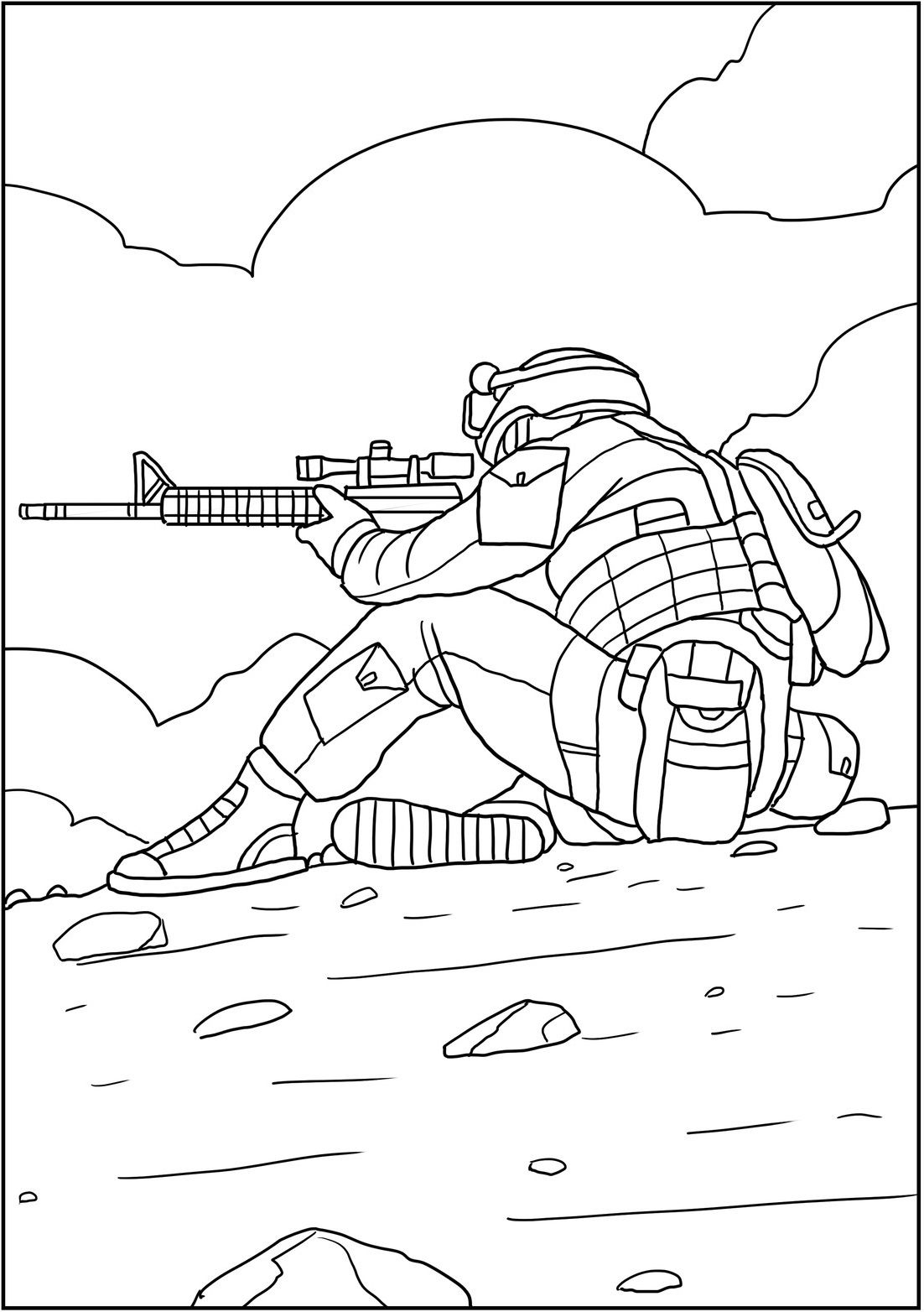 Brave men in combat scenes. Coloring book with sketches of ...