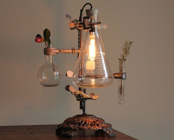 Industrial desk lamp steampunk flower vase lighting antique lab chemistry and laboratory science biology reclaimed edison bulb cool studio