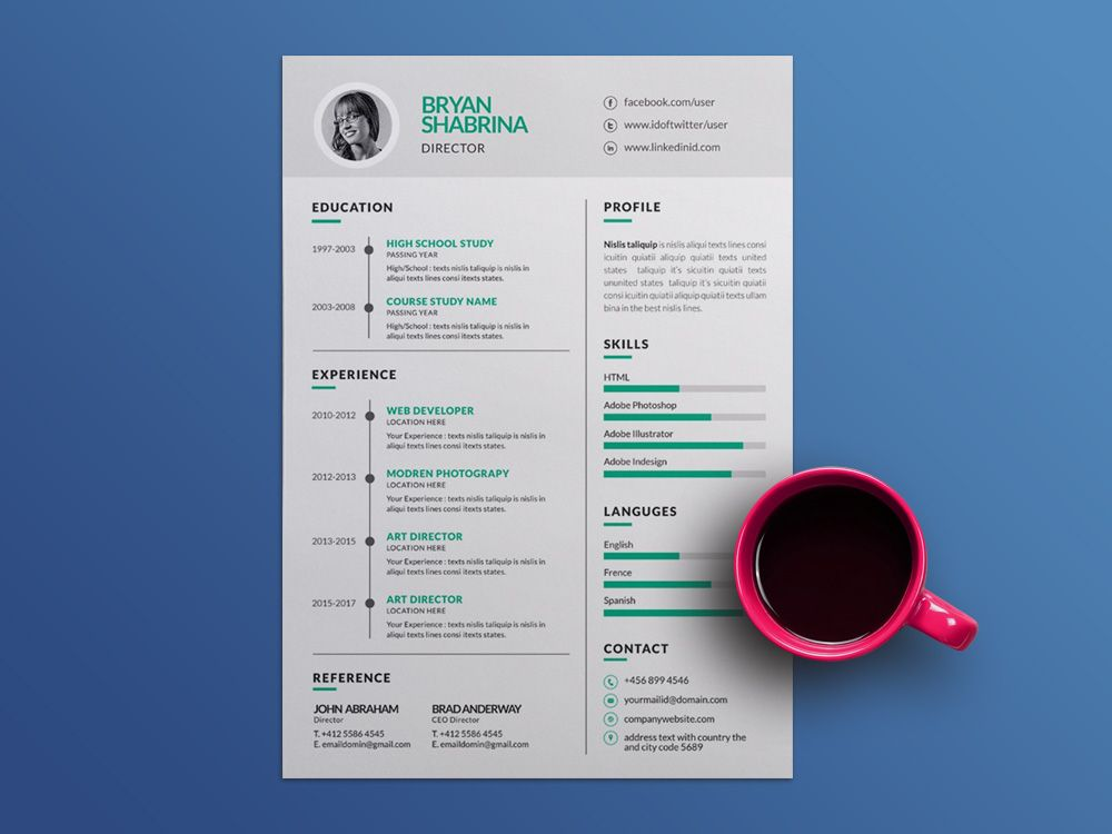 Free Vector Resume Template With Silver Color Scheme Silver Color Scheme Resume Template Color Schemes