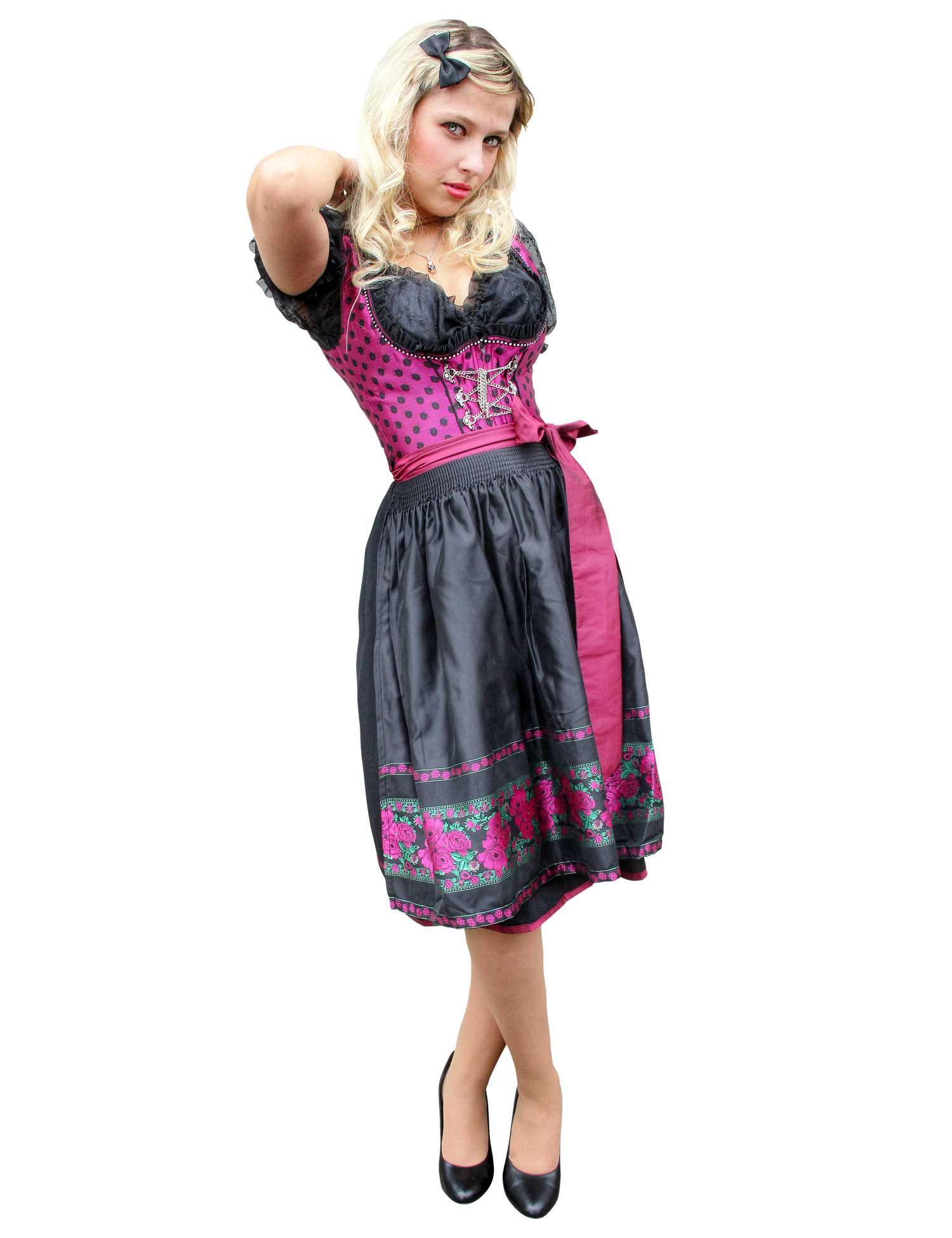 Trachten Kleid Midi Dirndl Foxy Blumen fuchsia-schwarz