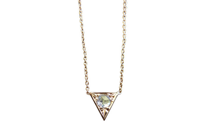"""Arrowhead"" Necklace  Stunning rose cut diamond with a 3mm round shape diamond in the center. Simple and elegant. Timeless. Available in solid 14k rose and yellow gold. Cable chain available in 2 different sizes: 16"" and 18""."