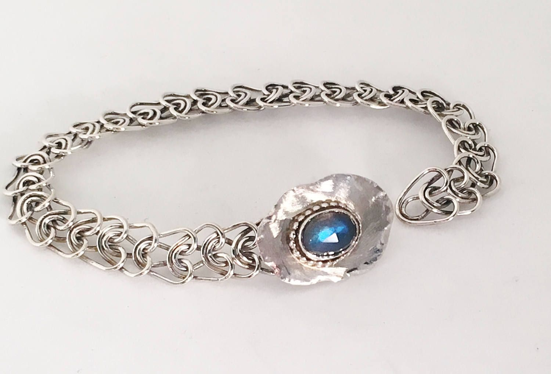 Labradorite Silver Bracelet Argentium Chain Bracelet Artisan