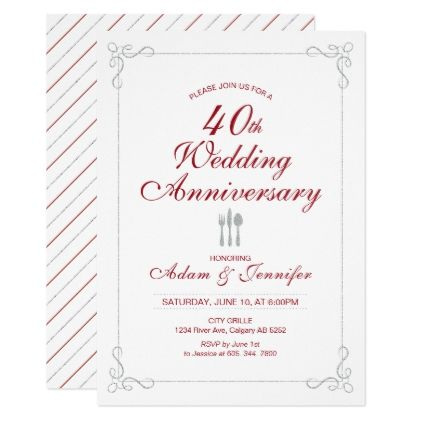 Ruby \ Silver 40th Wedding Anniversary Invitation Wedding - anniversary invitation