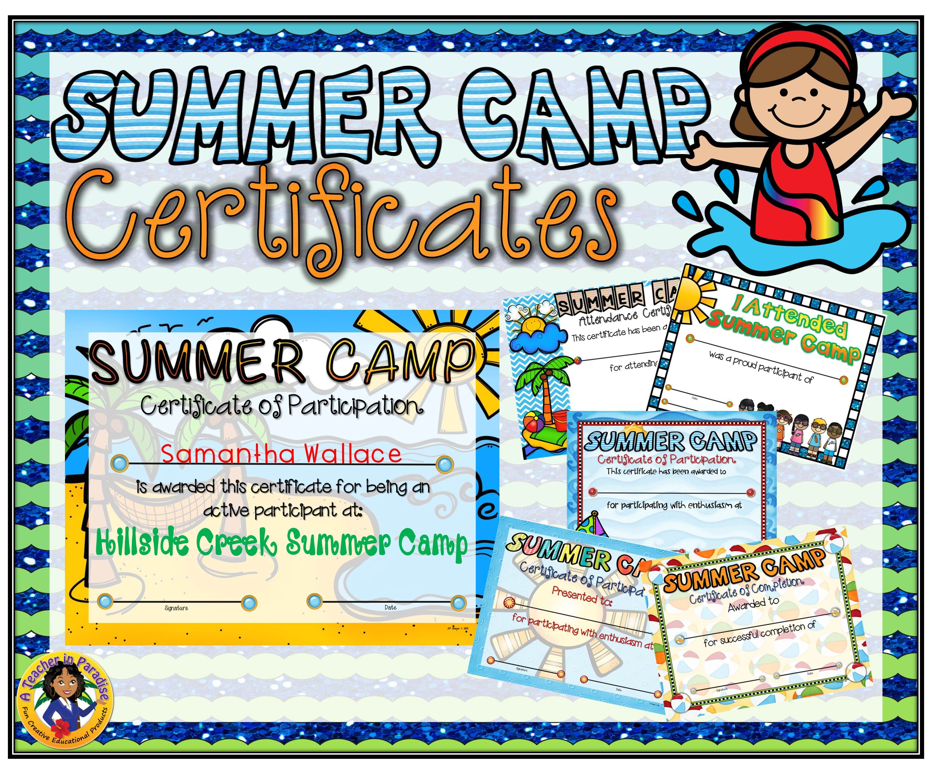 summer camp certificates a teacher in paradise certificates