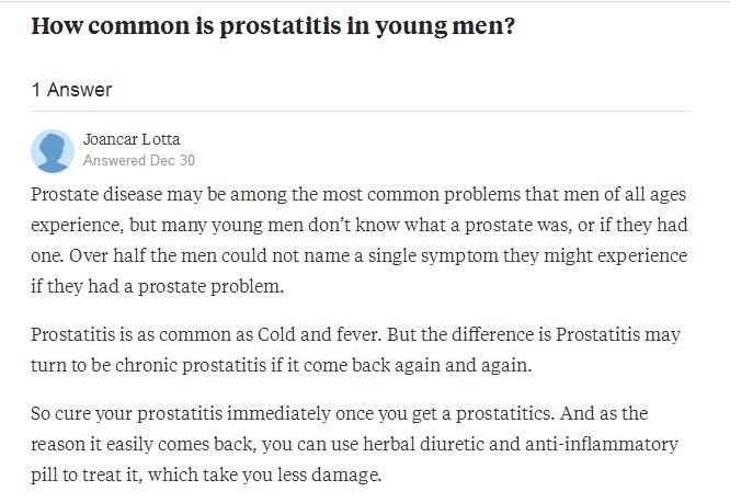 is prostatitis common in young adults