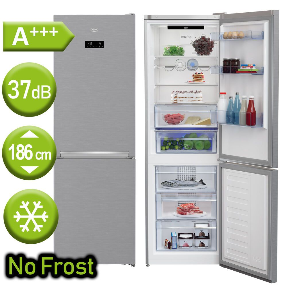 Gefrierschränke A+++ Kühl Gefrierkombination Freistehend Edelstahl Optik  Kühlschrank NoFrost NEU; EEK A++%#Gefrierschränke