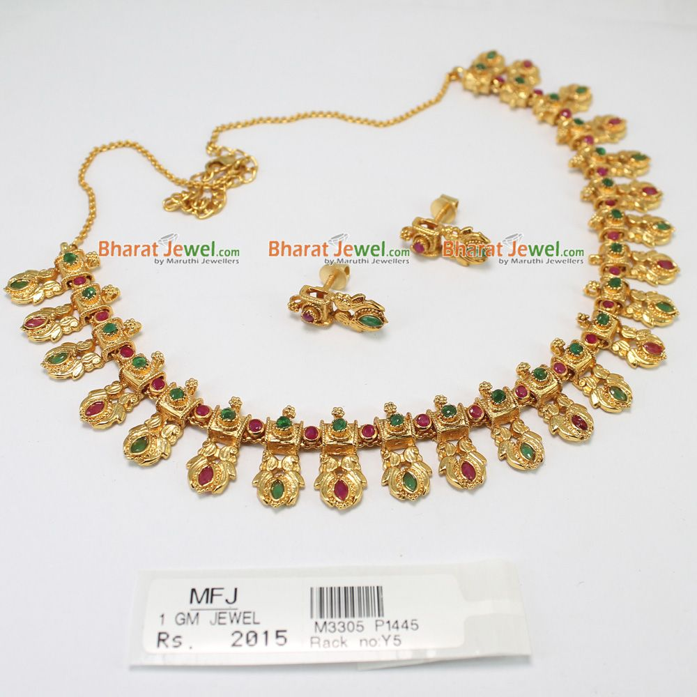 1e1f0f1c171c4 1 GM gold kundan necklace with ruby emerald stones set for wholesale ...