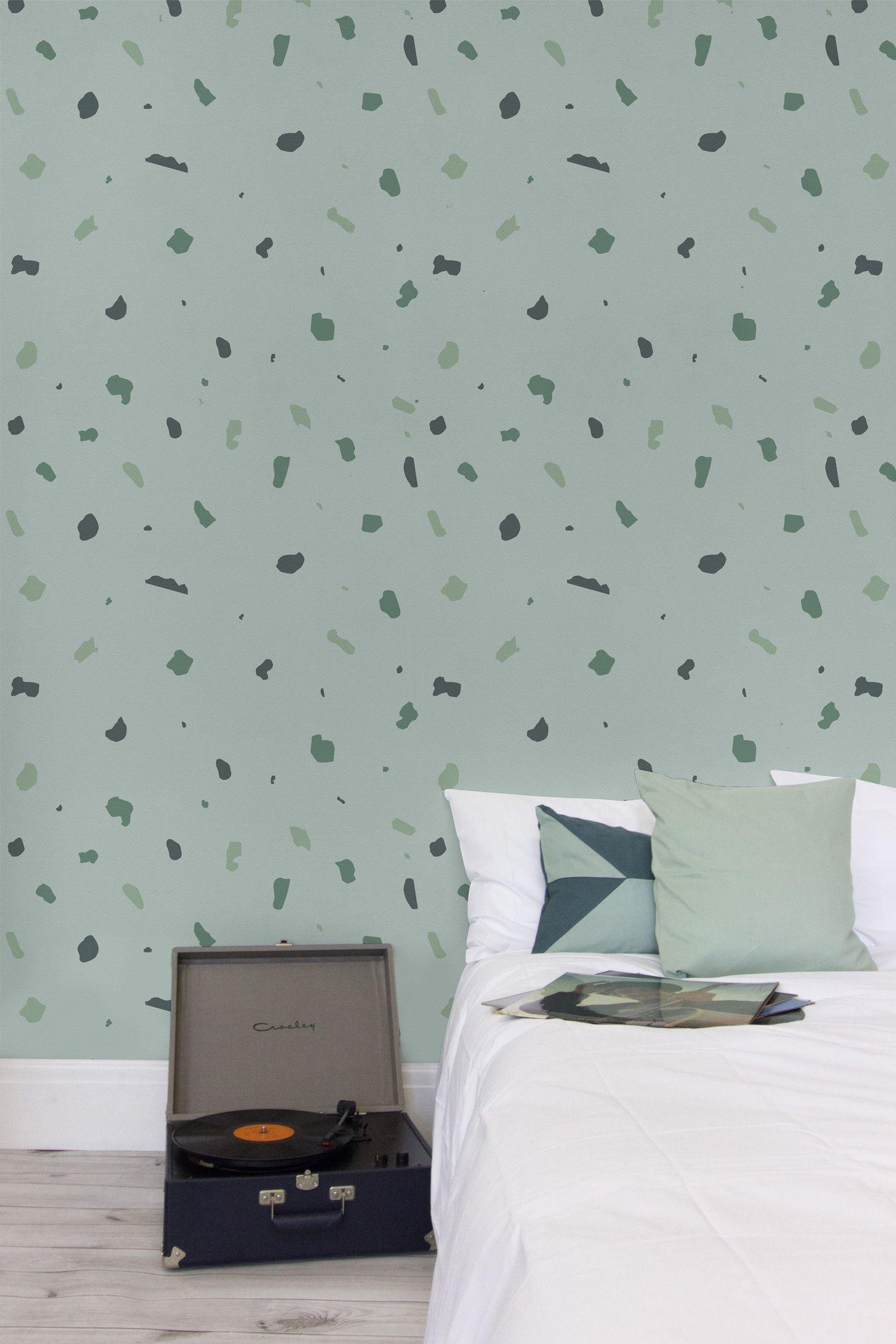 Green Terrazzo Wallpaper Mural
