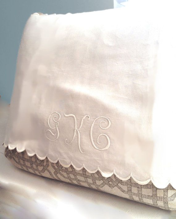 Vintage Monogrammed Linen Pillow Cover White with by TastefulTikes, $15.00