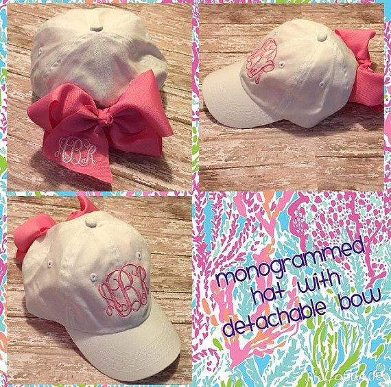 Girlie Monogrammed Bow Hats by POMPandPALM on Etsy
