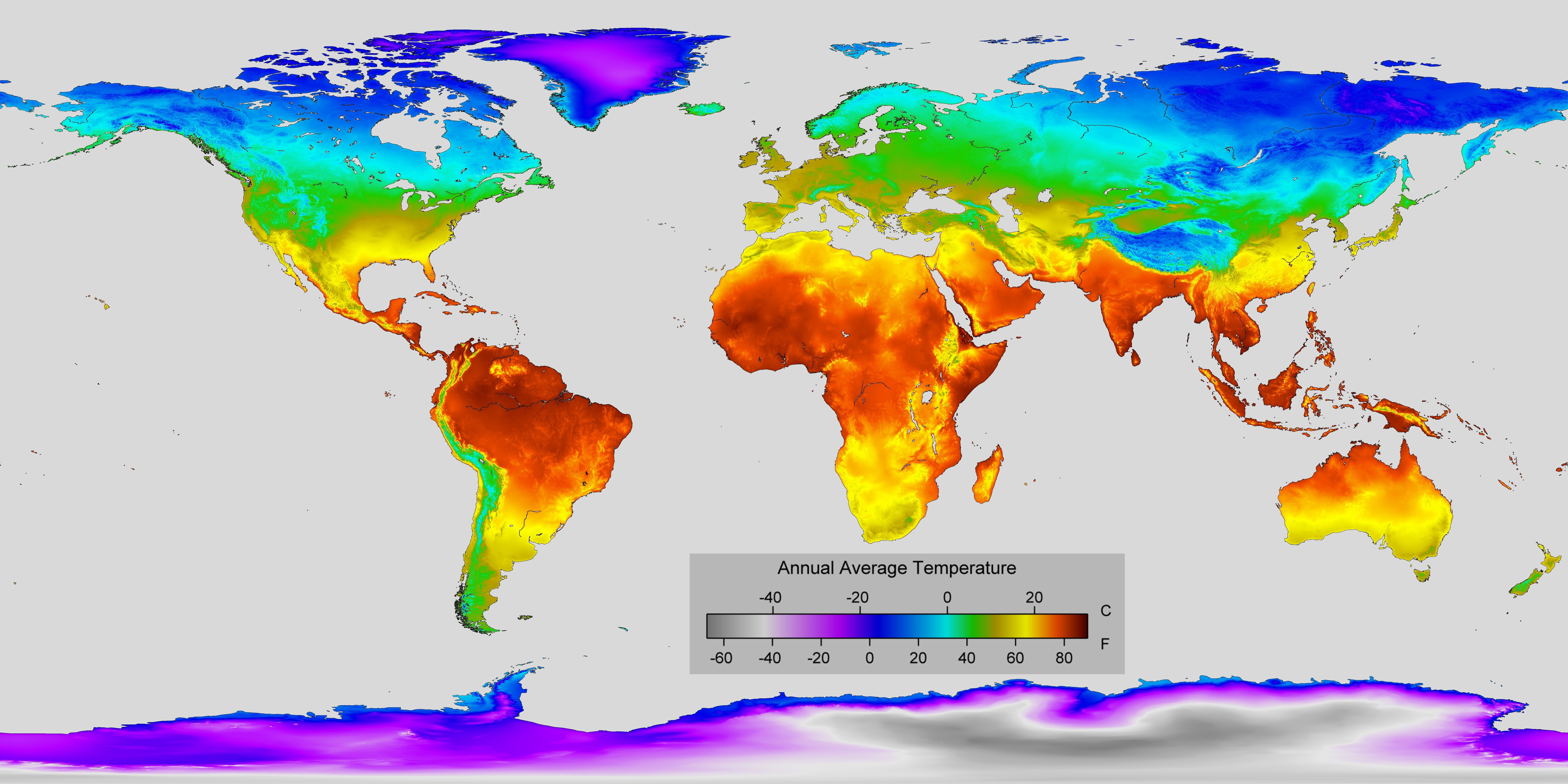 temperature around the world map Detailed Map Of Annual Average Temperature Around The World World Temperature Map Temperatures Around The World Detailed Map