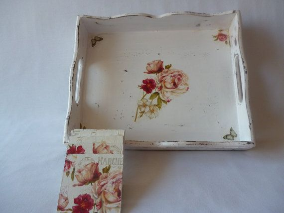 Tray Decoration Magnificent Vintage Flowers Tray With Pads In Decoupage Techniquehandmade Decorating Design