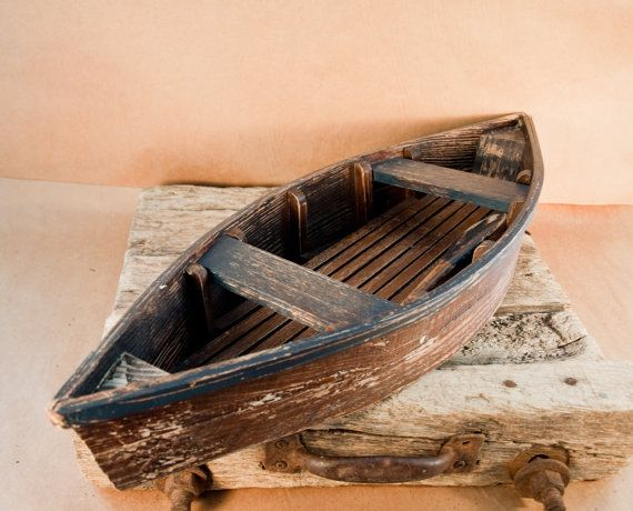 Vintage Wooden Row Boat Rustic With Paddle Is 29 By Rouilly