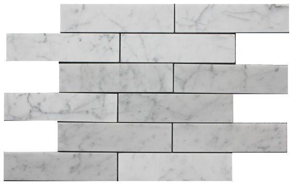 "Carrara Bianco 2x8"" Marble Subway Tiles"