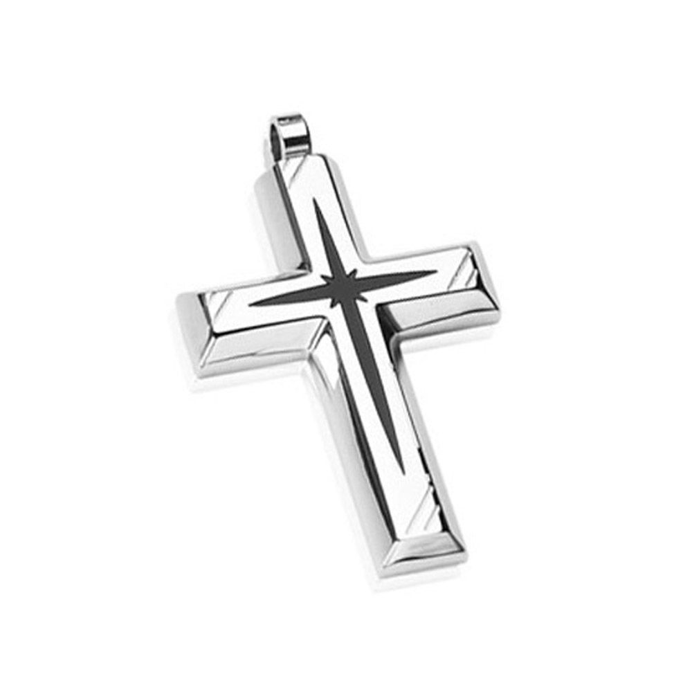 Stainless Steel with Black PVD Star Centered Cross Pendant