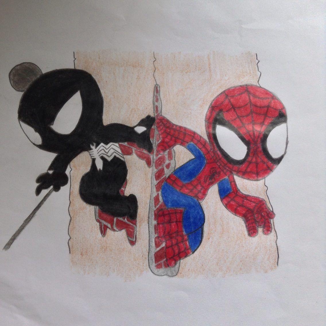 how to draw chibi spiderman