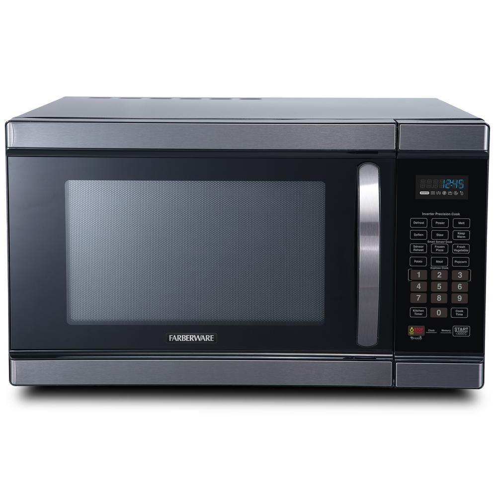 Farberware Black 1 1 Cu Ft Countertop Microwave In Black