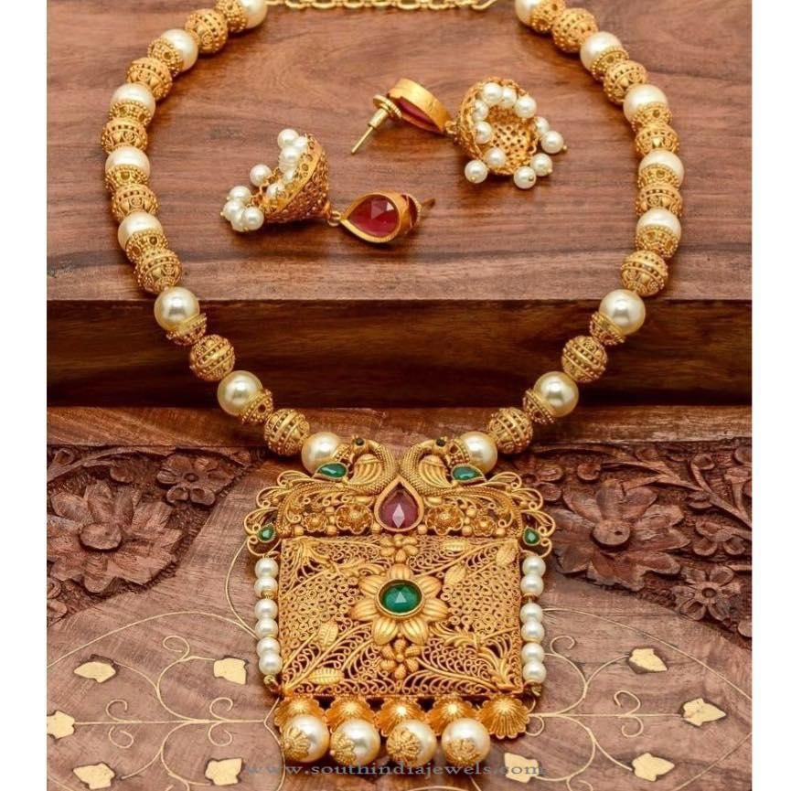 c01df8d6cd One Gram Gold Plated Necklace with Jhumka | antique_jewellery | Gold ...