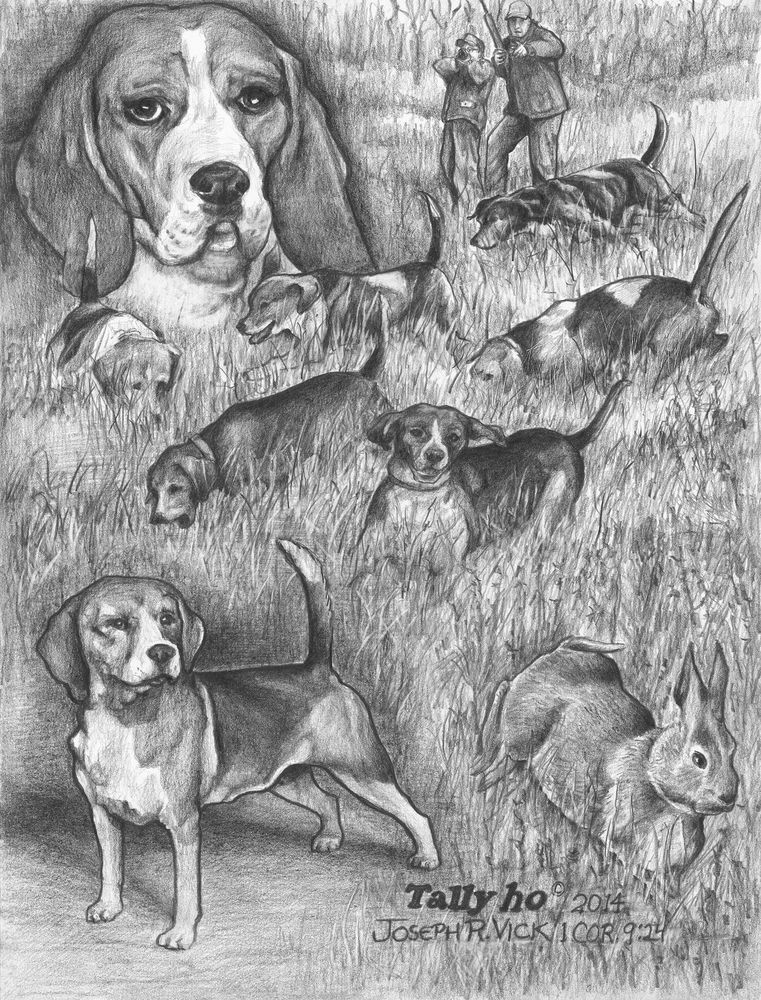 Tally Ho Print Beagles Rabbit Hunting Old Time Tradition
