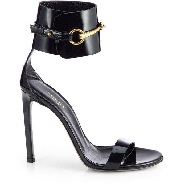 6c960e0476a074 Gucci Ursula Patent Leather Horsebit Ankle-Strap Sandals ( 660) ❤ liked on  Polyvore