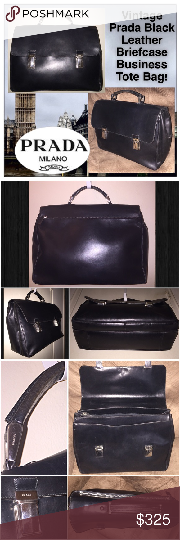 8115ba55702a VTG Prada UNISEX Blk Leather Briefcase Tote Bag! Vintage Prada Black  Leather Briefcase Business Tote