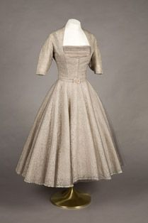 Princess Margaret's grey lace dress by Norman Hartnell, 1952. (Private Collection © Historic Royal Palaces)