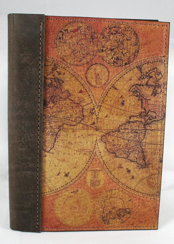 Leather travel journal notebook diary logbook with a printed leather travel journal notebook diary logbook with a printed old world map on front cover 5 x 7 with lined paper gumiabroncs Gallery