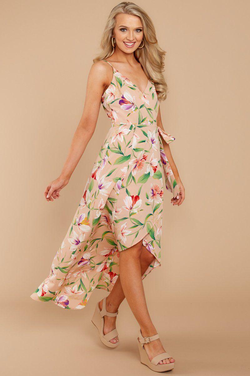 Make you mine tan floral print wrap dress style u fashion