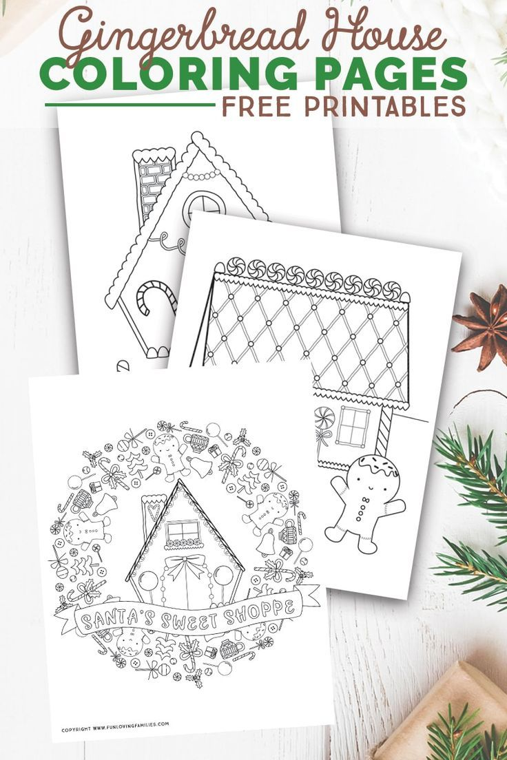 Download these free gingerbread house coloring pages for festive family time with the kids these