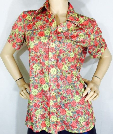 7138fef208a Vintage Shirt Bright Flowered Polyester Shirt from Sears Vintage 70 s  Fashion Short Sleeve Flower Power Button Down Shirt by OffbeatAvenue on Etsy