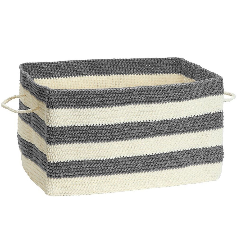 Add Decorative Storage With The Fabric Storage Bin   Large   Gray And White  Stripes