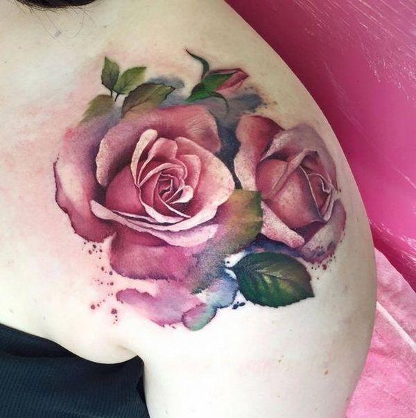 Pink Rose Design on Shoulder Cap. 30+ Beautiful Flower Tattoo Designs.