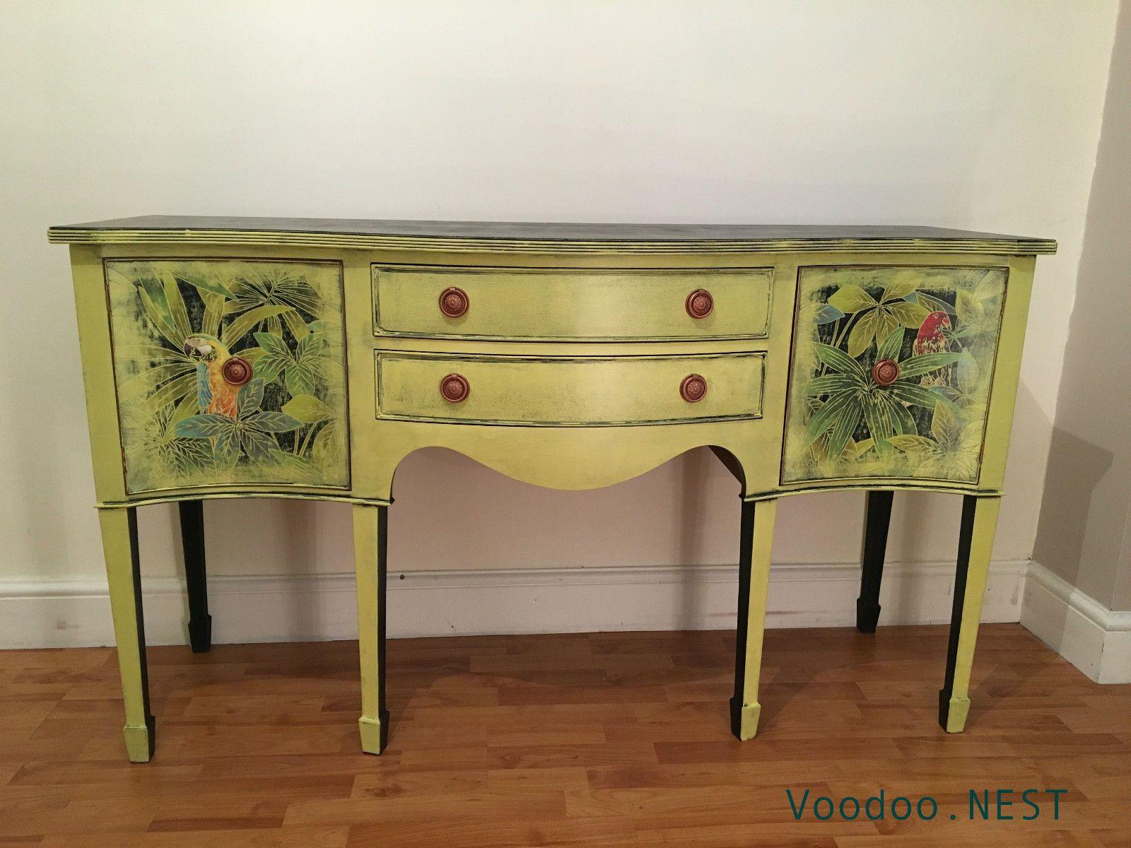 Delightful Upcycled Regency Georgian Style Sideboard Buffet Cabinet   Yellow Shabby  Chic | EBay